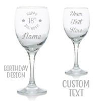 Personalised Wine Glass Birthday Gift Engrave Your Own Message And Age