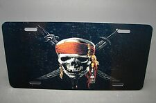 SKULL LICENSE PLATE TAG FOR CARS SUV ALUMINUM METAL  PIRATES OF CARIBBEAN THEME
