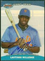 Original Autograph of Lastings Milledge of the Mets on a 2004 Bowman's Best Card