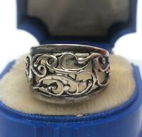 Vintage Sterling Silver Ring 925 Size 5 Cellini Band Filigree Scrolls Signed