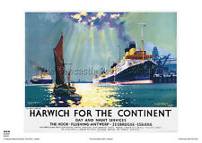 HARWICH ESSEX RETRO POSTER VINTAGE RAILWAY TRAVEL ADVERTISING CHANNEL HOLIDAY