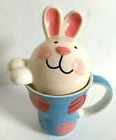 Cracker Barrel Easter Bunny Coffee Mug w Bunny Face & Lid in Blue
