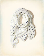 Hollister Ladies White and Blue Dotted Large Square Scarf BNWT