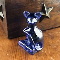 """Vintage Mouse on Cheese Blue Pressed Glass Figurine 2 1/8"""""""