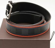 LOUIS VUITTON Belt Men's Black Orange Blue DAMIER ACE Canvas Silver Leather 95