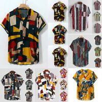 Men Stripe Print Summer Short Sleeve Loose Blouse Ethnic Button Casual Shirt Top