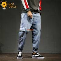 New Men`s Retro Embroidery Loose Denim pants Harem Taper Fit Baggy Cargo Jeans