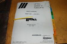 Gradall L Series Telescopic Forklift Reach Truck Parts Manual Book Catalog List