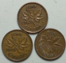 1941, 1943 & 1949  Canada 1 Cent Penny  KING GEORGE VI Variety