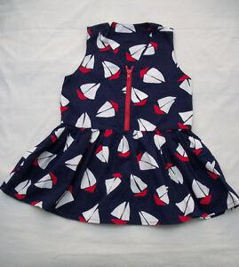 BABY GIRLS 6 - 12 MO. NAVY BLUE NAUTICAL DRESSES (2)