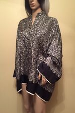 HELMUT LANG Black Persian Floral Silk Long Sleeve Kimono Top Small NWT $340