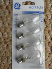 4 x 'GE' Night  Light Bulbs (Clear)   Wattage: 4 Watt