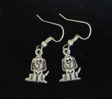 Long Eared Dog Earrings Oxidized Matte Silver Puppy I Heart my Dog Pooch Hound