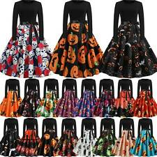 Womens Vintage Halloween Long Sleeve Swing Dress Pumpkin Printed Midi Dresses