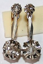 ANTIQUE VICTORIAN FRENCH BI COLOR 18k GOLD ROSE DIAMOND 2 STONE DANGLE EARRINGS