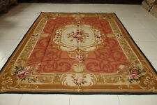 Vintage Wool Hand Woven Aubusson Carpet Floral Rose French Castle Beige Rusty