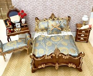 Dolls House Beautiful Quality Bed And Bedroom Furniture With Accessories