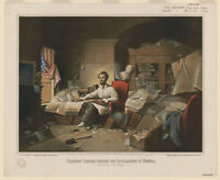 """8"""" x 10"""" Photo President Lincoln, writing the Proclamation of Freedom. January 1"""