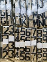 3D Black Gel Number Plate Domed resin digits characters letters Set kit *350
