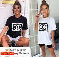 Women's Ladies CG Print Short Sleeve Oversized T-Shirt Tee Fashion Blouse Top UK