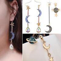 Crystal Star and Moon Earrings Rhinestone Long Pendant Dangle Fashion Jewelry