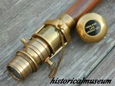 Antique Brass wooden walking stick with nautical telescope walk cane vintage WS4