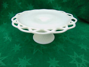 Vintage Lace Edge Milk Glass English Hobnail Pedestal Cake Plate Stand Rum Well