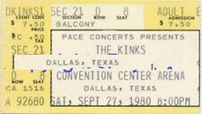 Kinks US Concert Dallas,TX Ticket 27/9/80