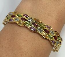 14k Yellow Gold Sterling Silver 9 Ct Multi Gemstone Pave Bangle Bracelet Cuff 7""