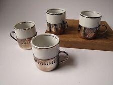 Set of 4 Brazilian Veracruz Demitasse Espresso Cups Bellini Silverplated Holder