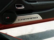 """2010-2013 Camaro - Door Panel Kick Plates Brushed """"CAMARO"""" 2Pc-101027-BLUE"""