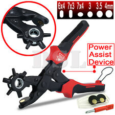 "10"" Power Assist Revolving Leather Hole Punch Belt Eyelet Plastic Puncher Pliers"