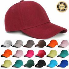 Plain Baseball Cap Solid Color Polo Style Hat Adjustable Wool Hook & Loop Hats