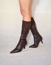 Women Brown Knee High Boots Fold Over Top Real Leather Clarks Size 5