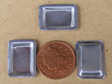 1:12 Scale 3 Very Small Oblong Metal Tin Trays Dolls House Food Baking Accessory