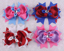 "Lot  4pcs baby kids 4"" Diamond  clips Boutique ribbon hairpin girl 2782 mix1"