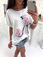 UK Summer Womens Floral Tops Blouse Ladies Short Sleeve T-Shirt Plus Size 6 - 20