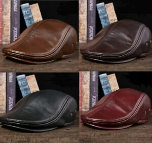 Men Genuine Leather Flat Cap Ladies Newsboy Gatsby Baker Cabbie Golf Beret Hat