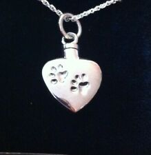 Solid Silver Cremation Memorial Urn Heart paw prints dog  Pendant Necklace Ashes
