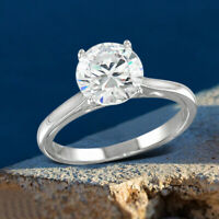 Solitaire Engagement Ring For Women's Round Cut Diamond 14k White Gold Finish