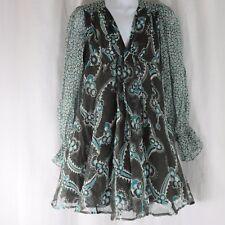New Celia Birtwell Express 0 Gray Teal Floral Mini Dress Sheer Silk Boho