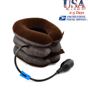 Air Inflatable Neck Relief Cervical Collar Traction Brace Support Stretcher USA