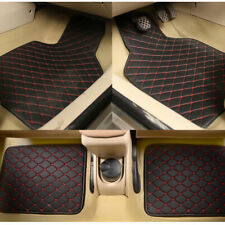 4PCS Universal Car SUV Truck Floor Mats Waterproof Liners Carpets Black+Red Line