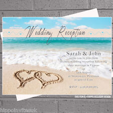 Beach Heart Wedding Abroad Wedding Reception Invitations x 50 with env H0004