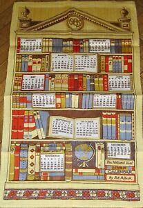 1985 CALENDAR Tea Towel PAT ALBECK  NATIONAL TRUST LINEN Library Collectible