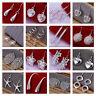 *UK* 925 Silver Plt Drop Dangle Hanging Hook Earrings Hoop Ladies Womens