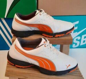 Puma Amp Sport White / Orange Golf Shoes Size 8.5