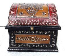 Wooden Box Handmade Embossed Painted Trinket Jewelry Storage Box Home Decor Art