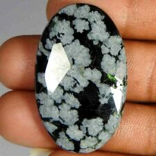 39.90CtsNatural Checker Cut Snowflake Black Obsidian Oval Cab+(38x23x5)Gemstone