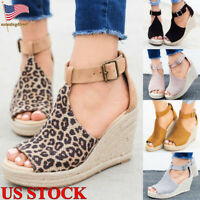 Women's Buckle Wedge Heel Espadrilles Sandals Ankle Strap Casual Shoes Size 6-9